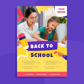 Back to school vertical poster template with photo