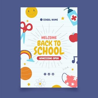 Modello di poster verticale di ritorno a scuola