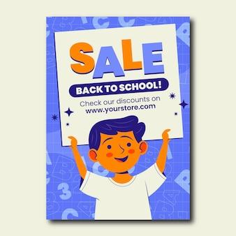 Modello di volantino di vendita verticale di ritorno a scuola