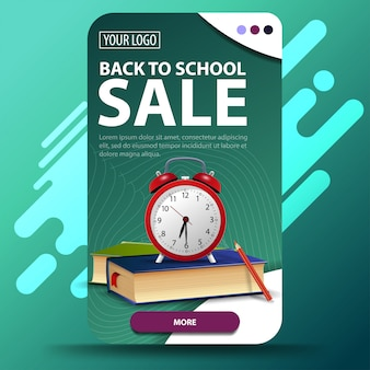 Back to school, vertical web banner with modern design