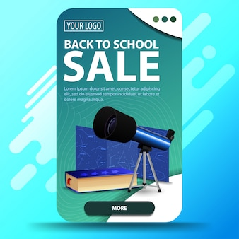 Back to school, vertical web banner for your website with telescope