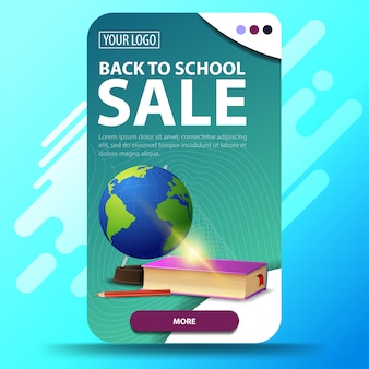Back to school, vertical web banner