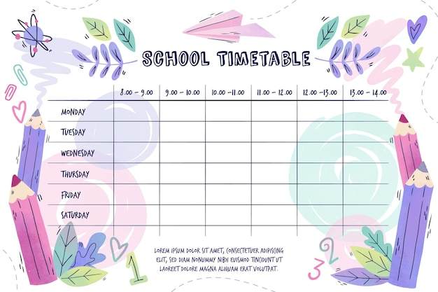 Back to school watercolor timetables