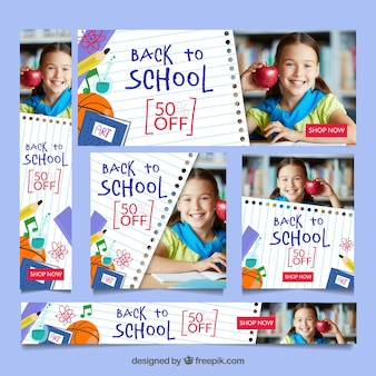 Back to school web banner collection with images