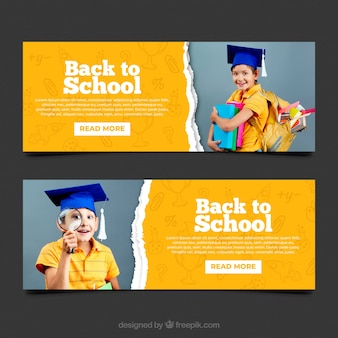 Back to school web banner collection with photo