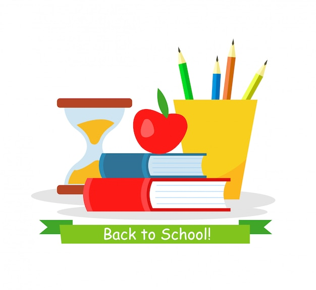 Back to school web banner flat vector template