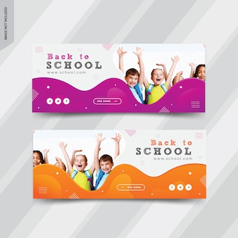 Back to school web banner templates design