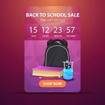 Back to school, web banner with countdown to the end of the sale with school backpack