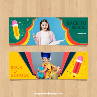 Back to school web banner with photo collection