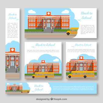 Back to school web banners collection in flat style