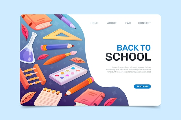 Back to school web page template