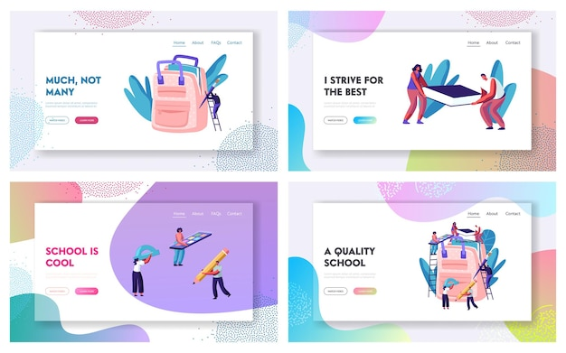 Back to school website landing page set