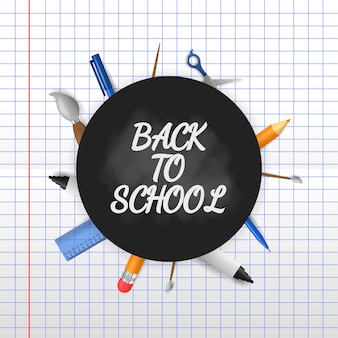 Back to school with 3d illustration on paper background