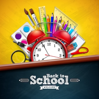 Back to school with alarm clock and colorful pencil on yellow