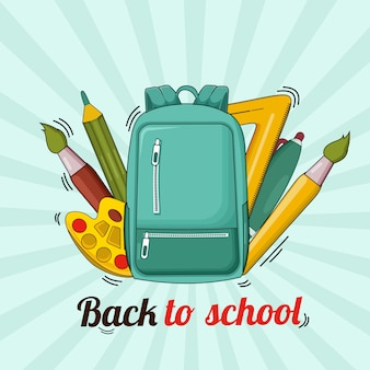 Back to school with bag, pencil ,ruler ,pen, small brush