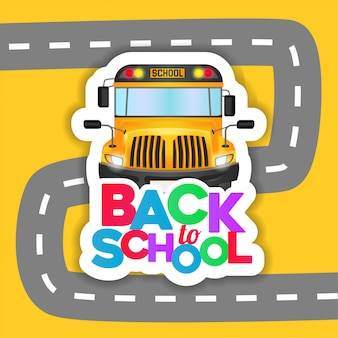 Back to school with bus school sticker and road background