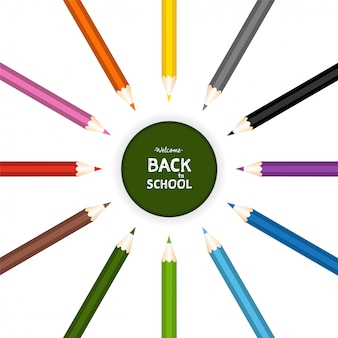 Back to school with chalk and color pencils set on. isolated vector illustration