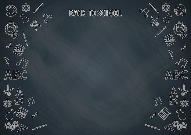 Back to school with chalkboard background and doodle vector