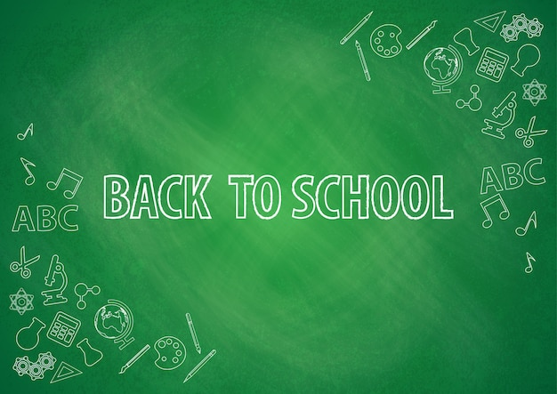 Back to school with chalkboard background vector