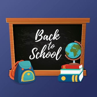 Back to school with chalkboard & school supplies design