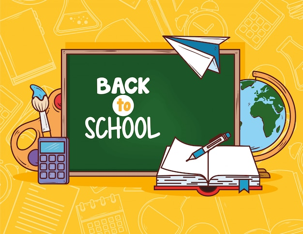 Back to school with chalkboard and supplies education vector illustration design