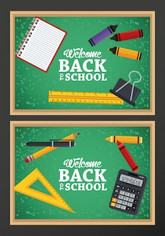 Back to school with chalkboards and items