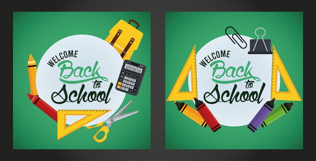 Back to school with chalkboards and set supplies scenes