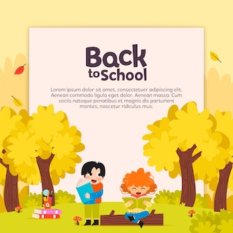 Back to school with child reading background