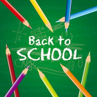 Back to school with colored pencils over chalkboard vector