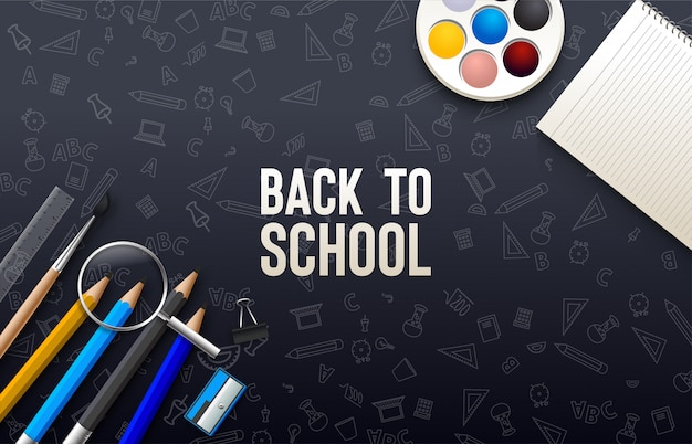 Back to school with colorful pencil and others on a black background.
