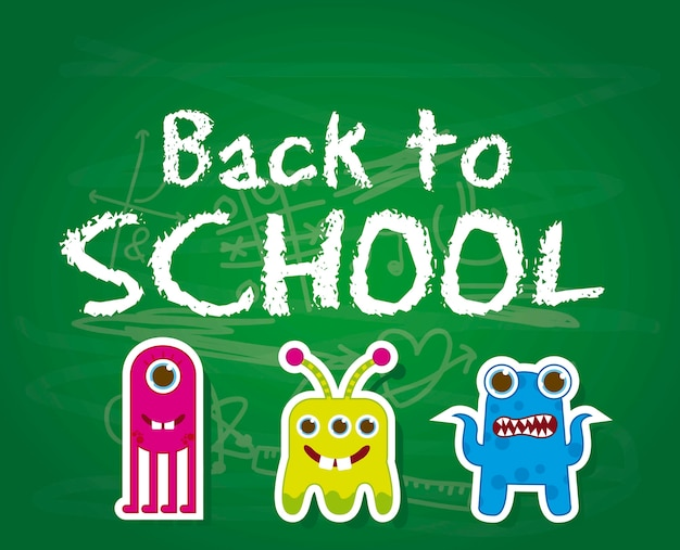 Back to school with cute monsters over chalkboard vector