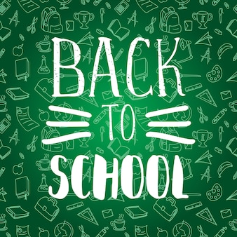 Back to school with doodle line art school elements many objects background on green chalkboard.