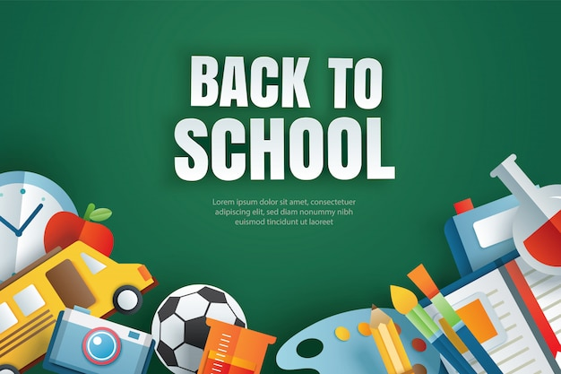 Back to school with education items on green chalkboard.