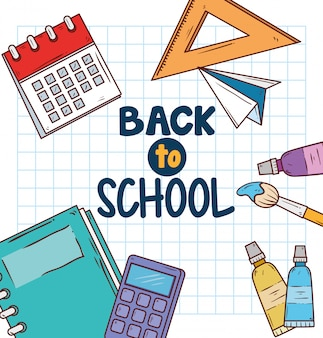 Back to school with education supplies vector illustration design