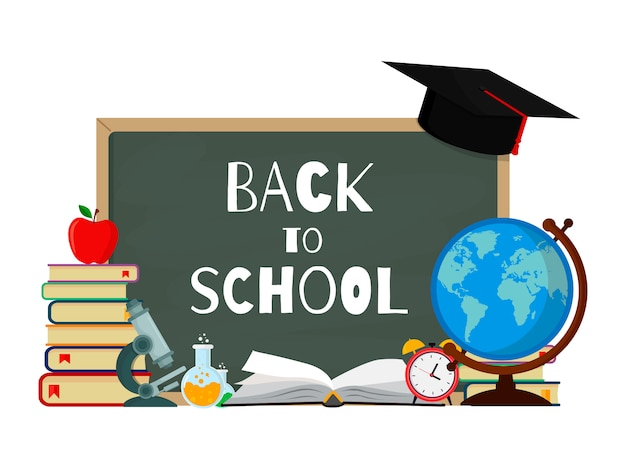 Back to school with flat design. vector illustration.
