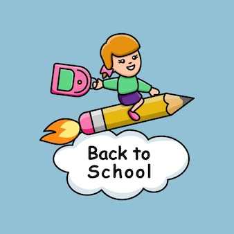 Back to school with girl on a pencil rocket t shirt cheerful print