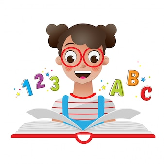 Back to the school with girl with book and numbers