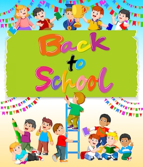The back to school with the happy student around it