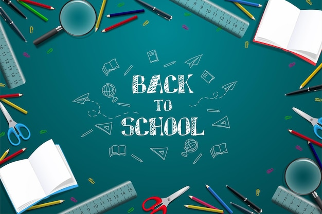 Back to school with illustration of school equipment in chalk writing