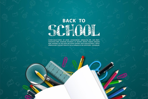 Back to school with illustration of school supplies on a gray background