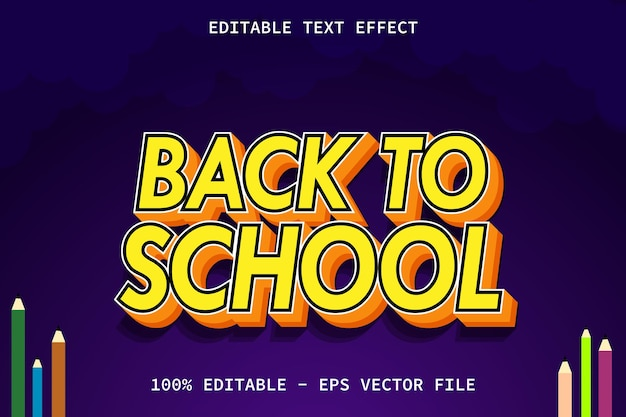Back to school with modern style editable text effect