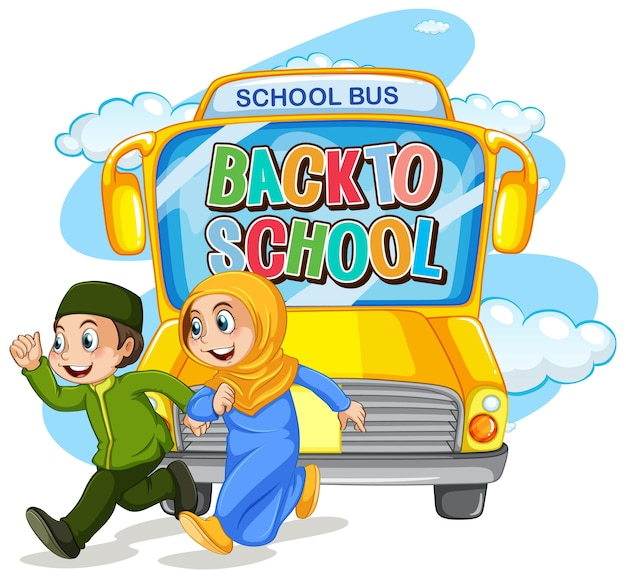 Back to school with muslim student character
