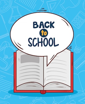 Back to school with open book vector illustration design