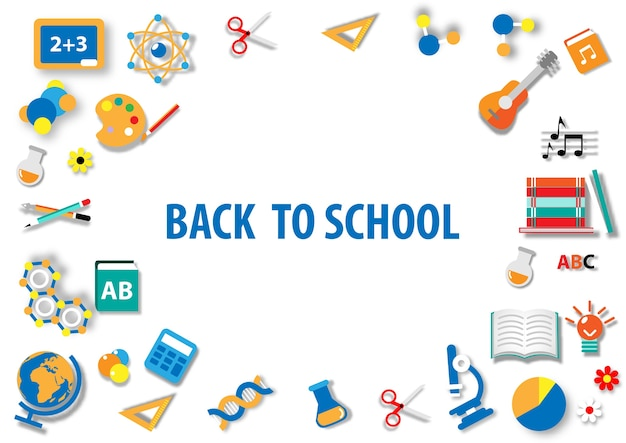 Back to school with paper art flat icon background