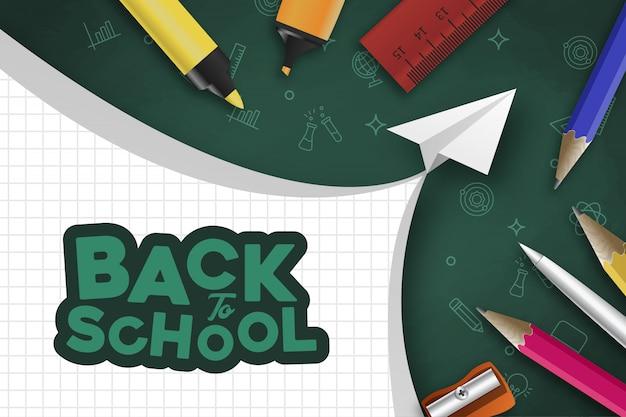 Ritorno a scuola con oggetti realistici