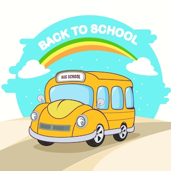 Back to school with school bus flat design.