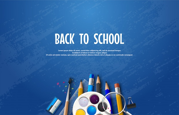 Back to school with school equipment on a blue background.