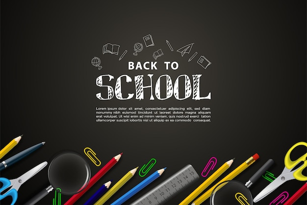 Back to school with school equipment