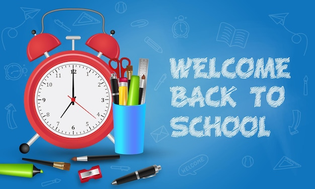 Back to school with school items and elements