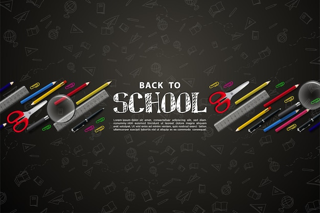 Back to school with school supplies on black table